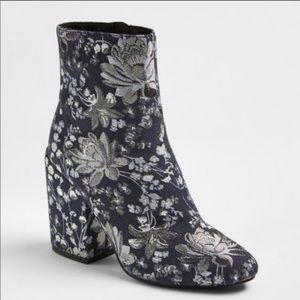 NWOT Merona silver and blue floral denim booties